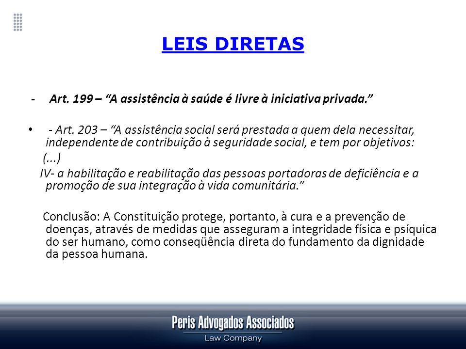LEIS DIRETAS - Art. 199 – A assistência à saúde é livre à iniciativa privada.