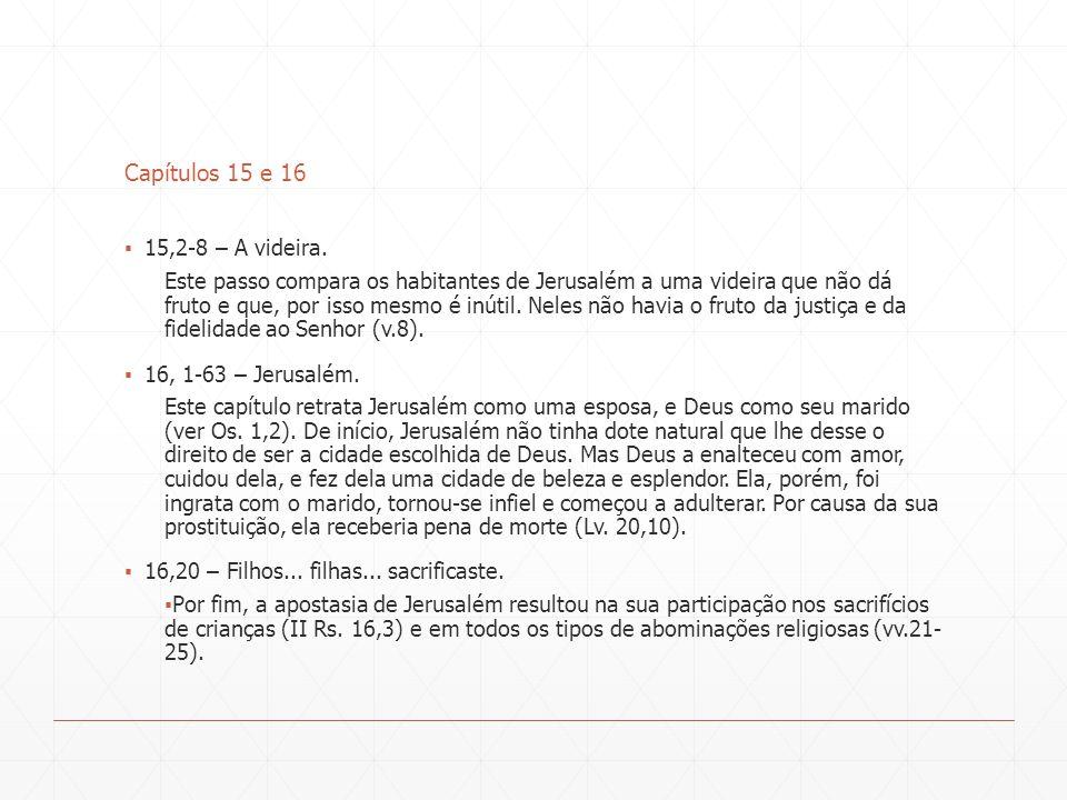 Capítulos 15 e 16 15,2-8 – A videira.