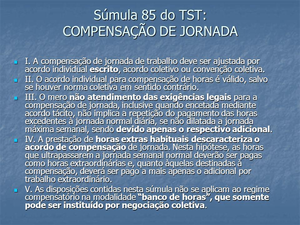 Súmula 85 do TST: COMPENSAÇÃO DE JORNADA