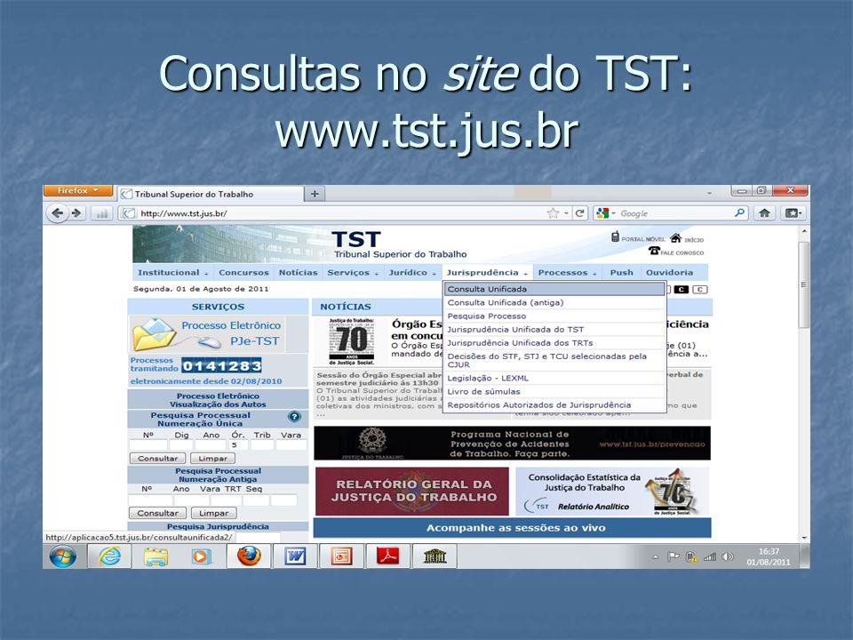 Consultas no site do TST: www.tst.jus.br