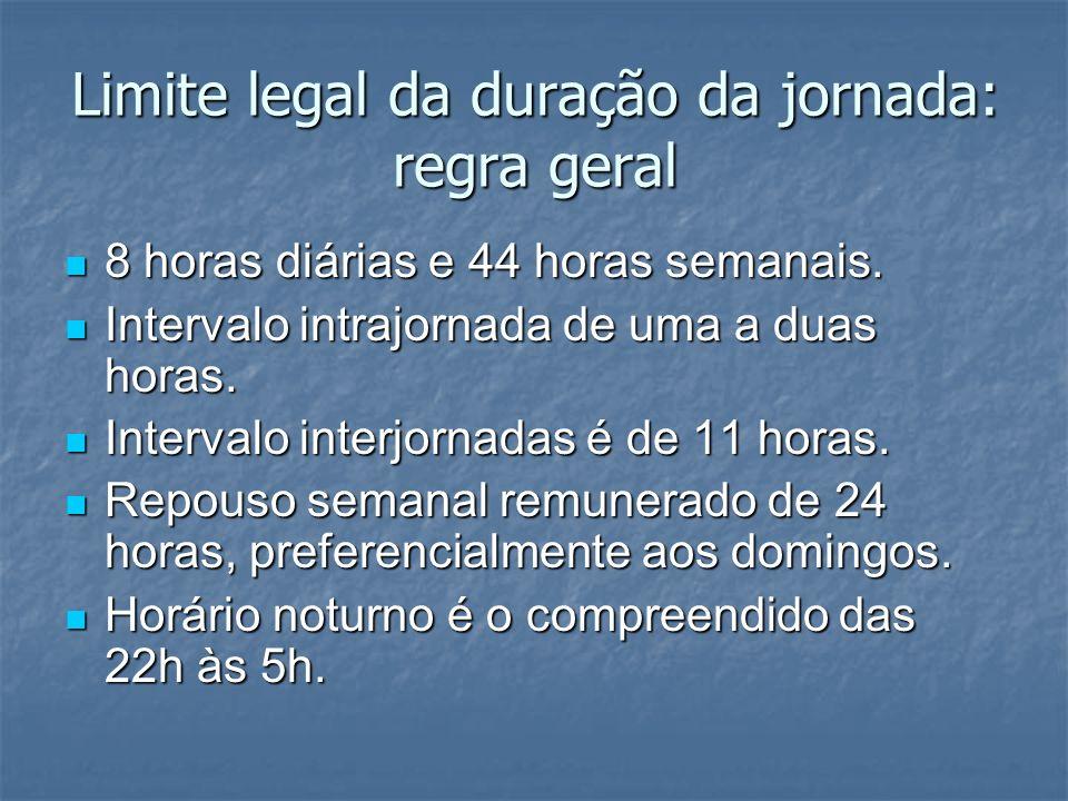 Limite legal da duração da jornada: regra geral