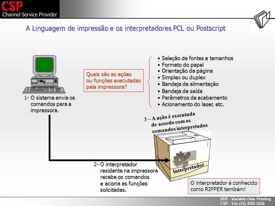 A Linguagem de impressão e os interpretadores PCL ou Postscript