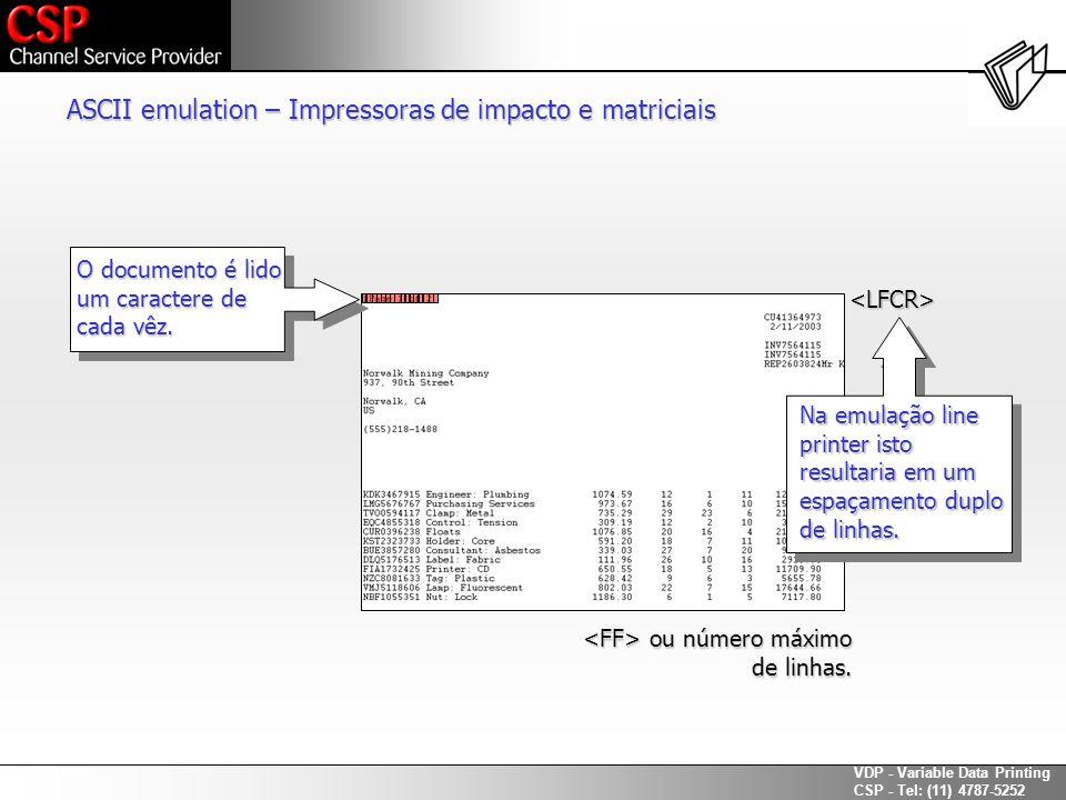 ASCII emulation – Impressoras de impacto e matriciais