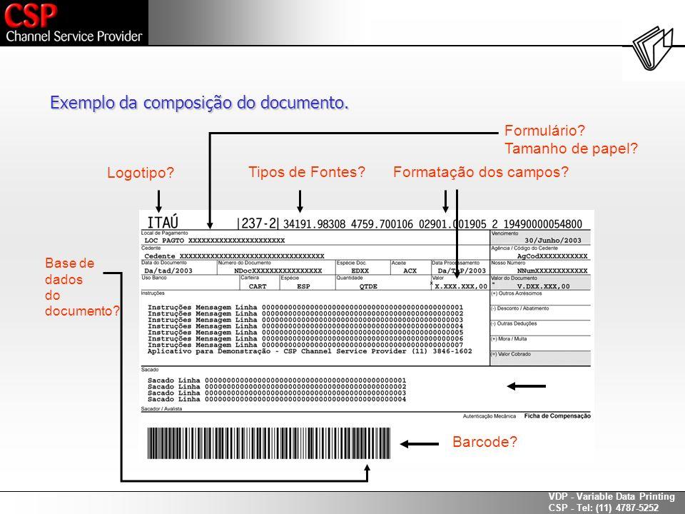Exemplo da composição do documento.