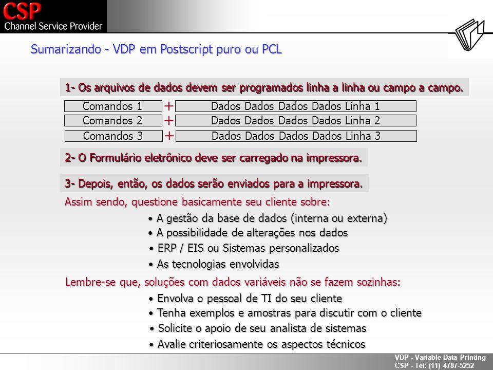 + + + Sumarizando - VDP em Postscript puro ou PCL