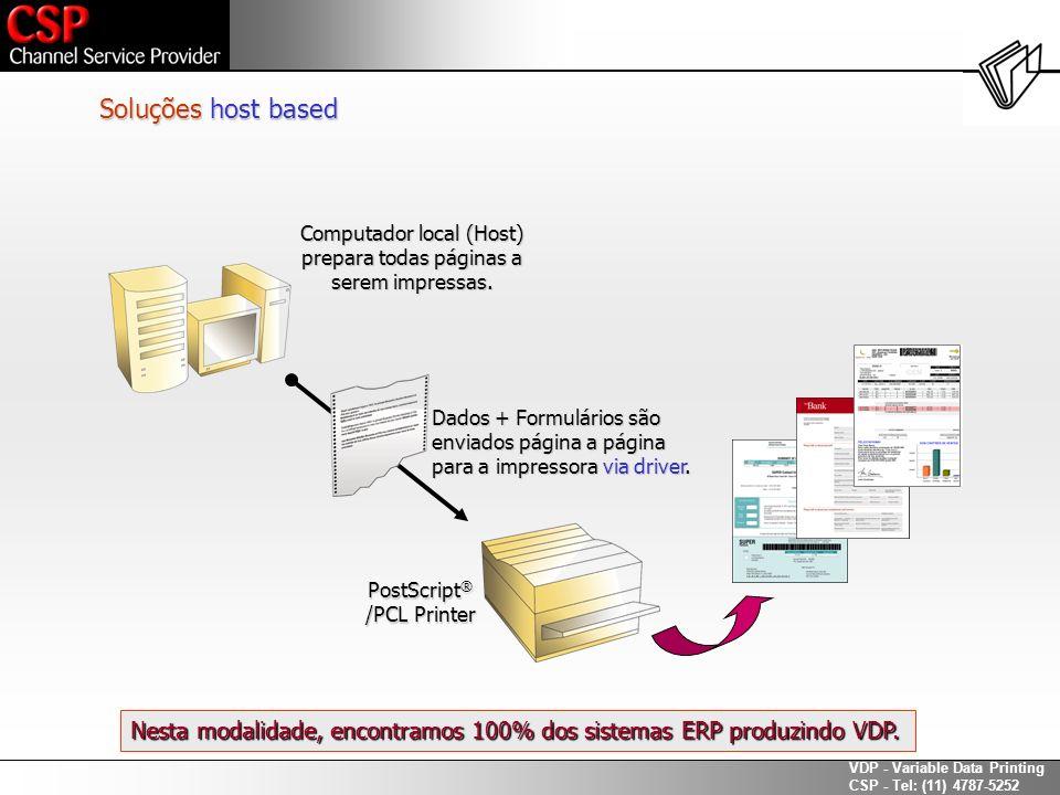 Soluções host based Computador local (Host) prepara todas páginas a. serem impressas. Dados + Formulários são.