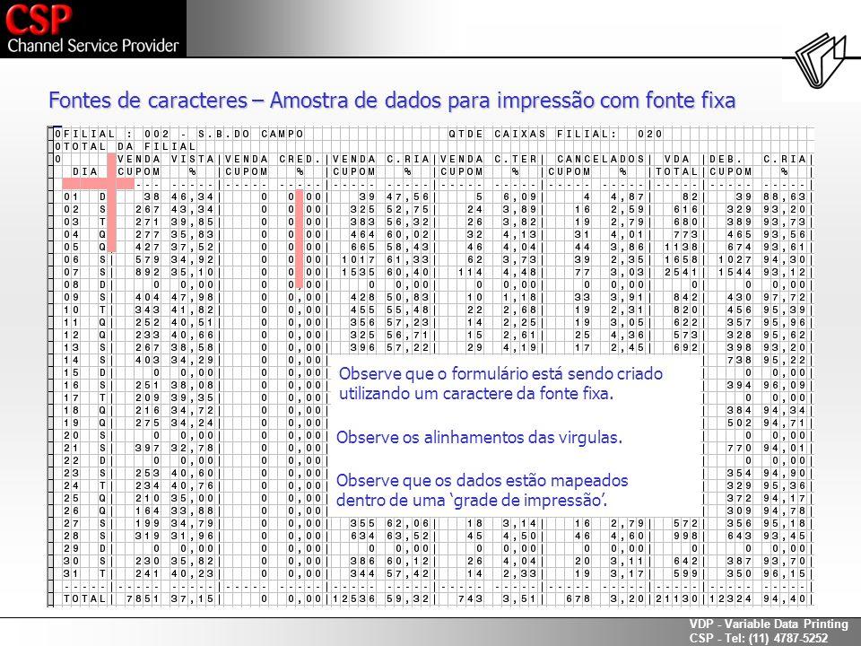 Fontes de caracteres – Amostra de dados para impressão com fonte fixa