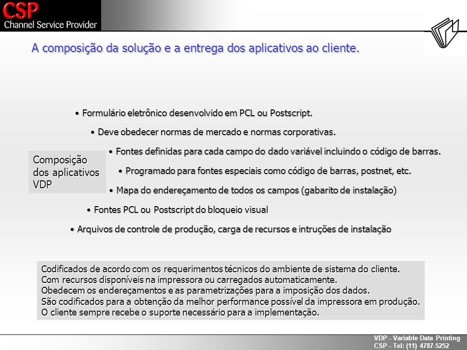A composição da solução e a entrega dos aplicativos ao cliente.