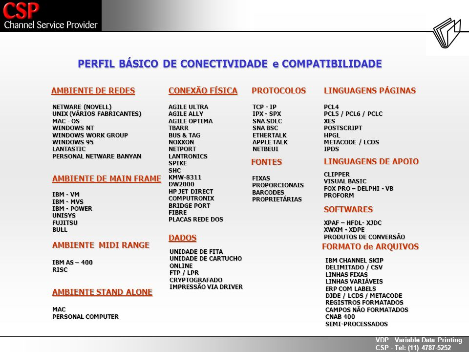 PERFIL BÁSICO DE CONECTIVIDADE e COMPATIBILIDADE