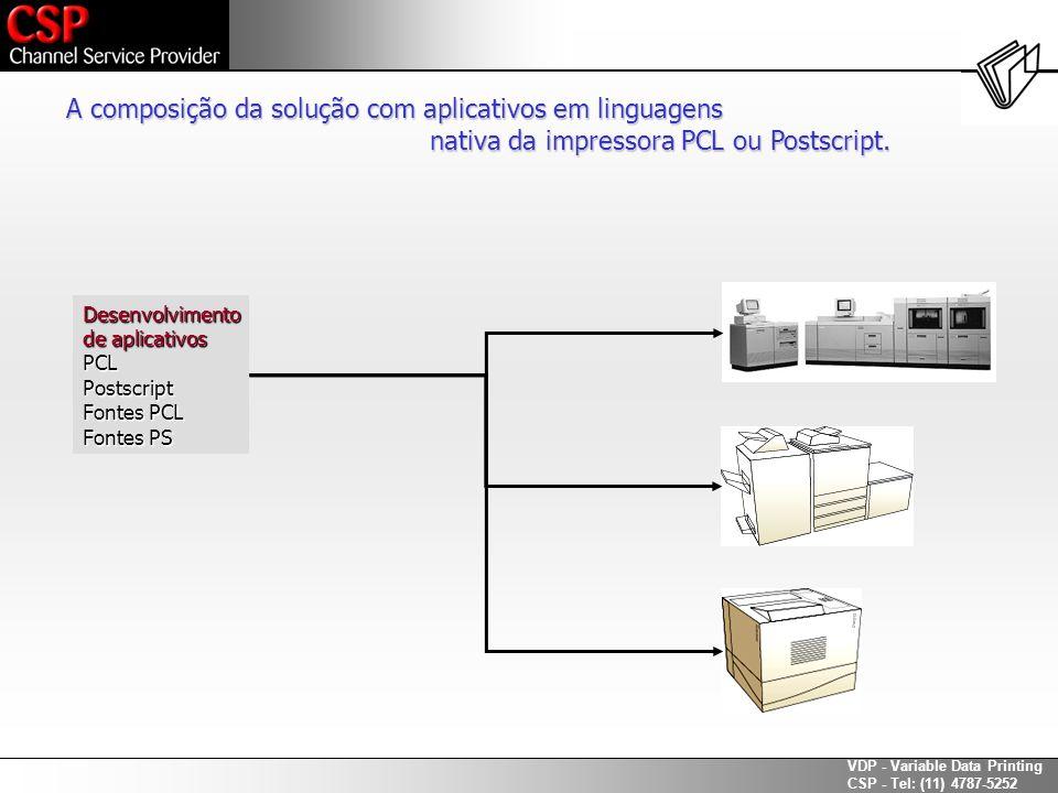 A composição da solução com aplicativos em linguagens
