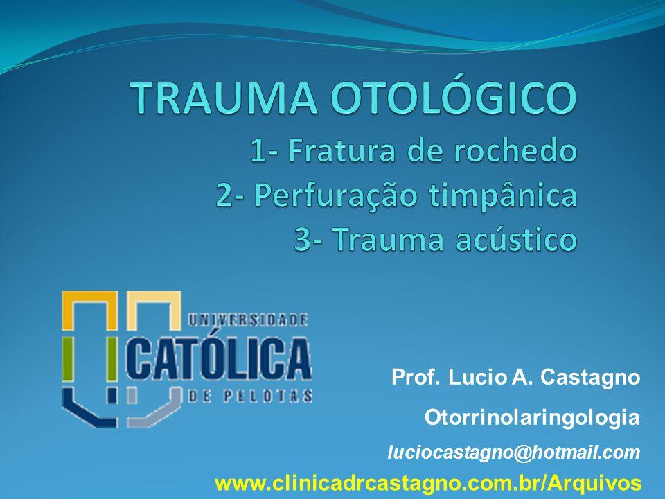 TRAUMA OTOLÓGICO 1- Fratura de rochedo 2- Perfuração timpânica 3- Trauma acústico