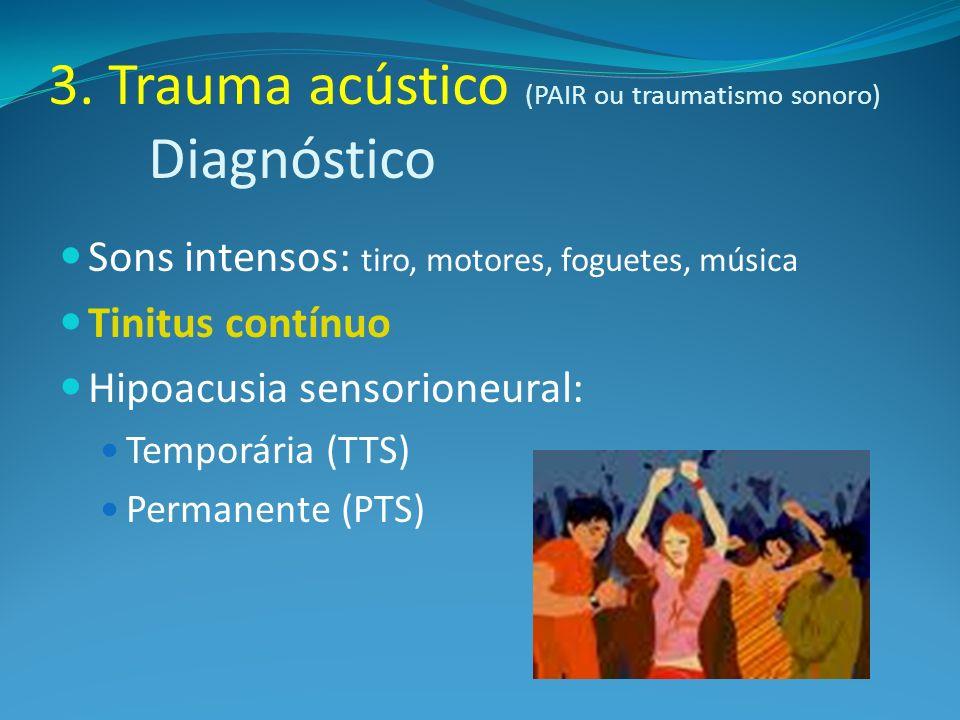 3. Trauma acústico (PAIR ou traumatismo sonoro) Diagnóstico