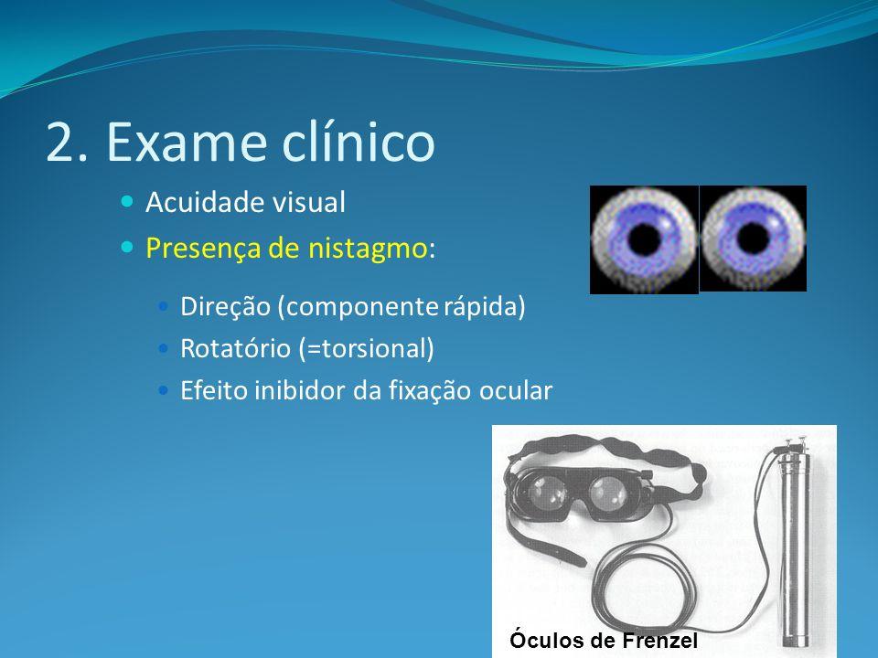 2. Exame clínico Acuidade visual Presença de nistagmo: