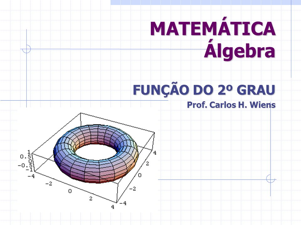 FUNÇÃO DO 2º GRAU Prof. Carlos H. Wiens