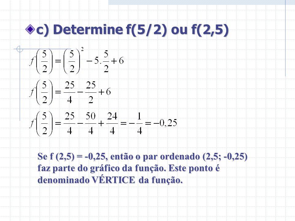 c) Determine f(5/2) ou f(2,5)