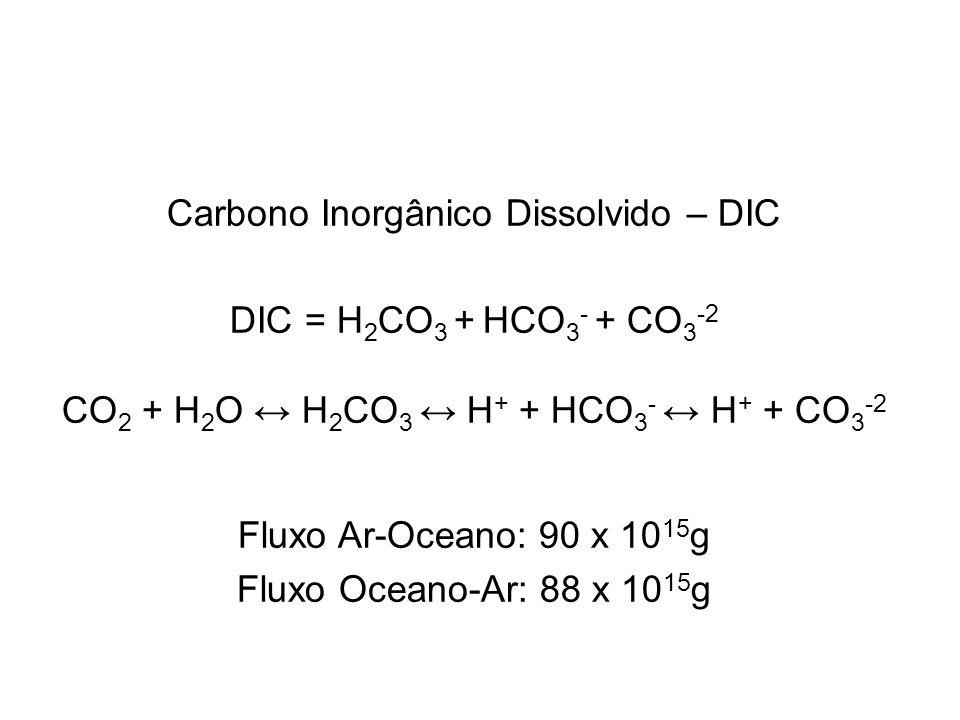 Carbono Inorgânico Dissolvido – DIC DIC = H2CO3 + HCO3- + CO3-2