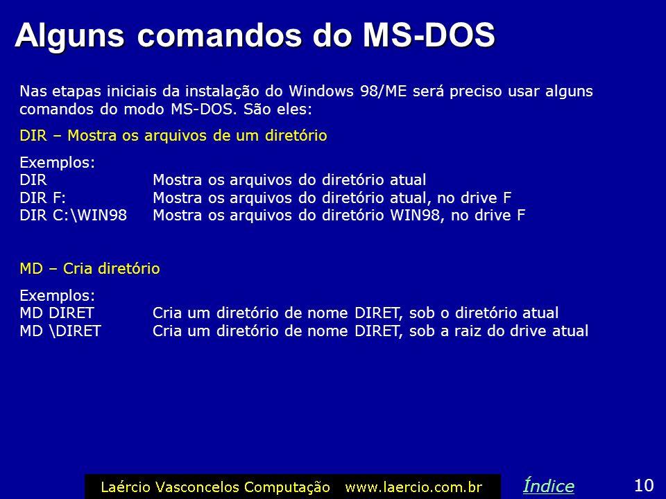 Alguns comandos do MS-DOS