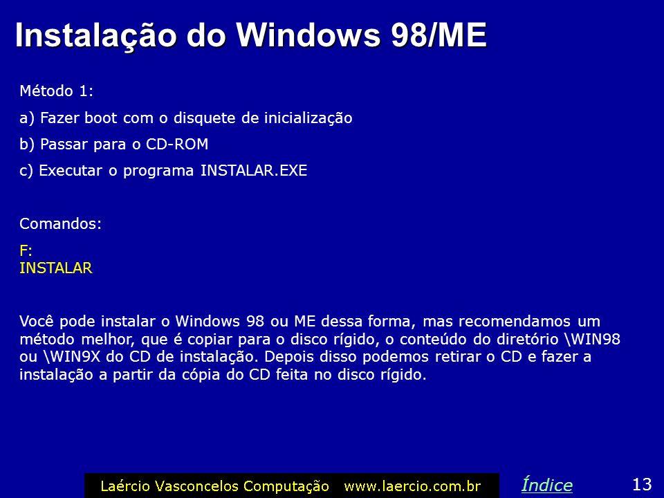 Instalação do Windows 98/ME