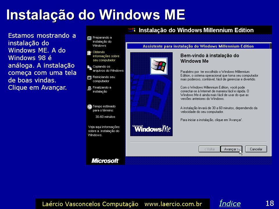 Instalação do Windows ME