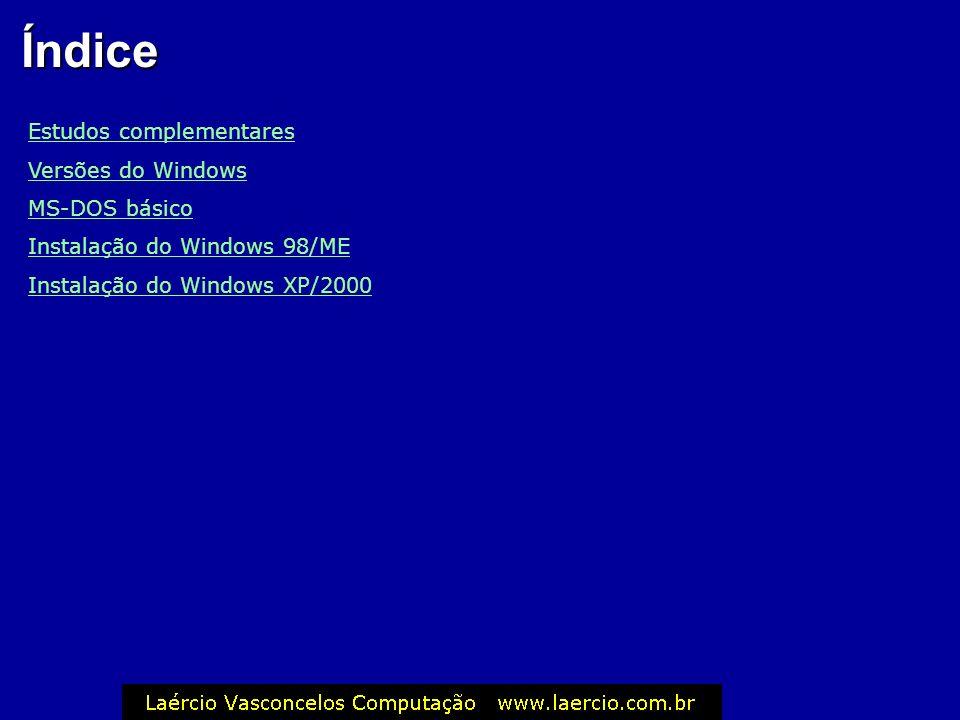 Índice Estudos complementares Versões do Windows MS-DOS básico