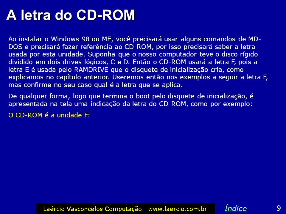 A letra do CD-ROM Índice 9