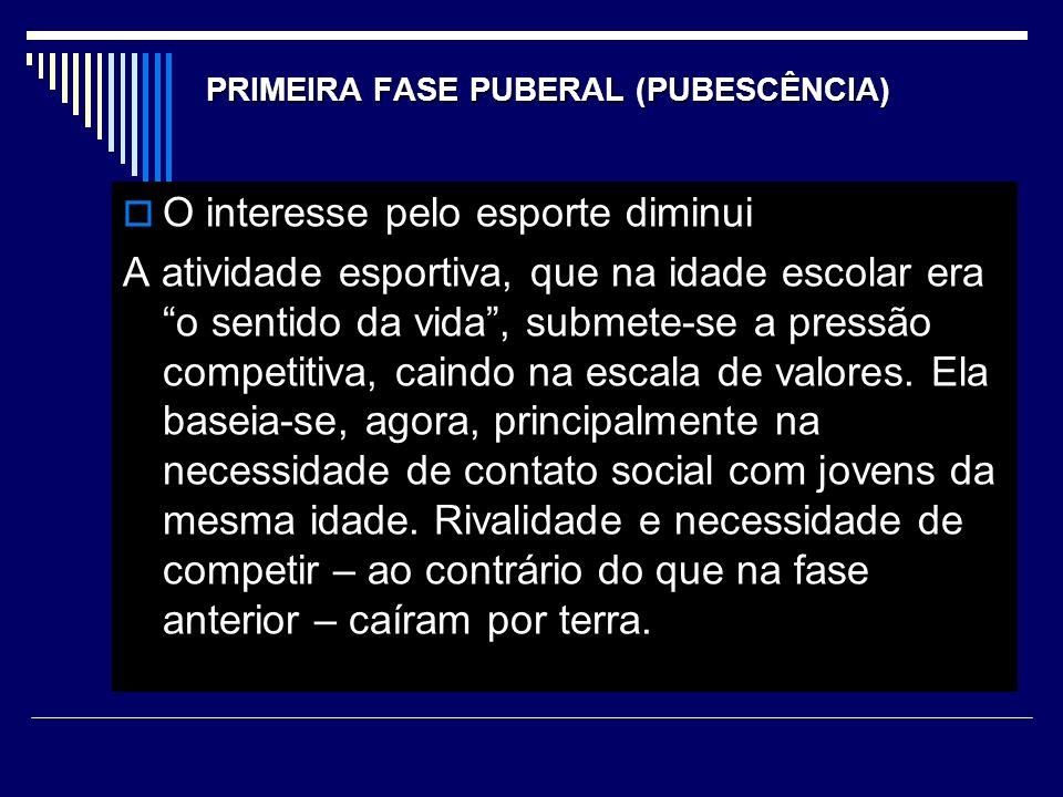 PRIMEIRA FASE PUBERAL (PUBESCÊNCIA)