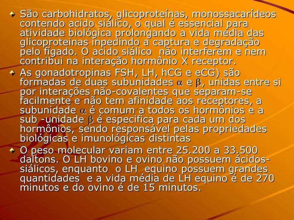 São carbohidratos, glicoproteínas, monossacarídeos contendo acido siálico, o qual é essencial para atividade biológica prolongando a vida média das glicoproteinas inpedindo a captura e degradação pelo fígado. O acido siálico não interferem e nem contribui na interação hormônio X receptor.