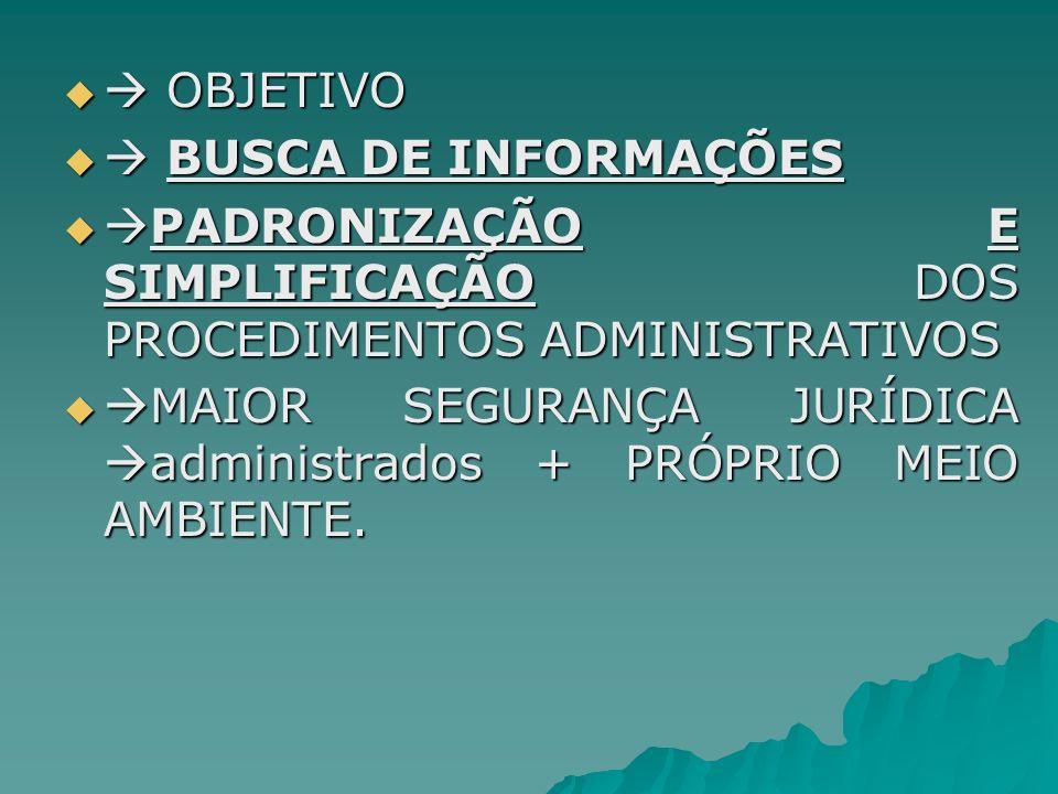  OBJETIVO  BUSCA DE INFORMAÇÕES. PADRONIZAÇÃO E SIMPLIFICAÇÃO DOS PROCEDIMENTOS ADMINISTRATIVOS.