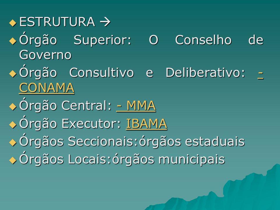 ESTRUTURA Órgão Superior: O Conselho de Governo. Órgão Consultivo e Deliberativo: - CONAMA. Órgão Central: - MMA.