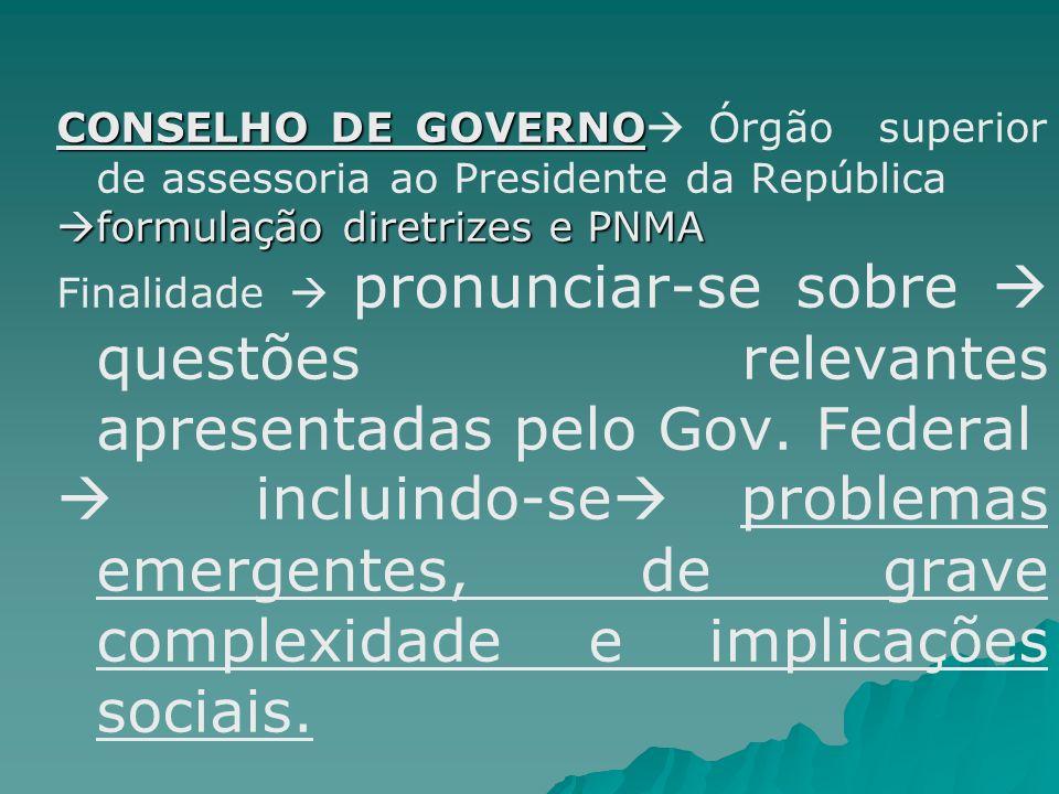 CONSELHO DE GOVERNO Órgão superior de assessoria ao Presidente da República