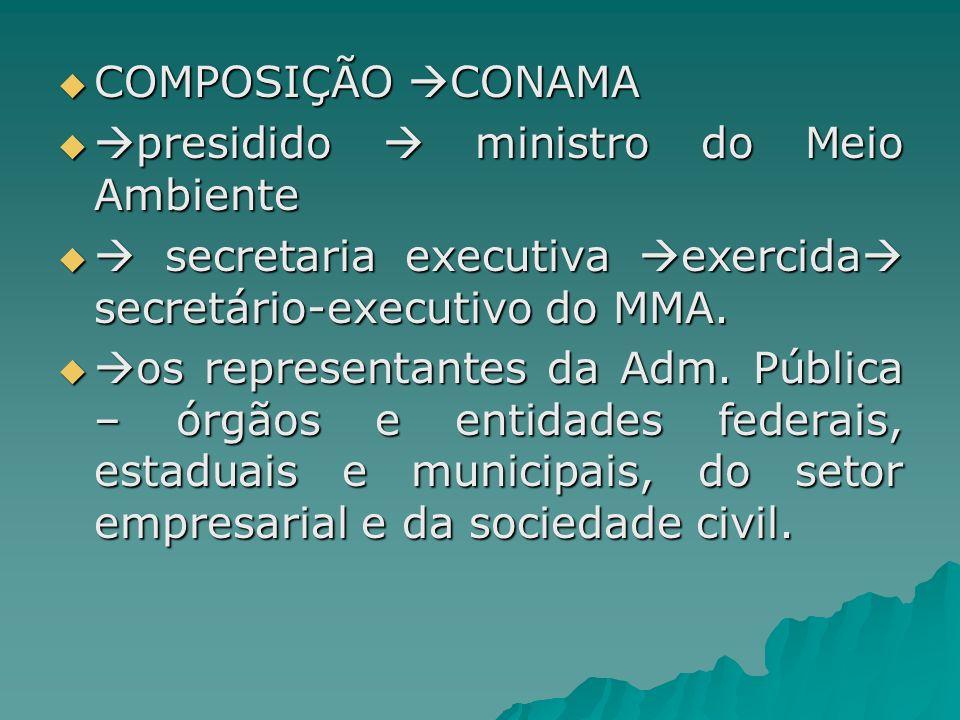 COMPOSIÇÃO CONAMA presidido  ministro do Meio Ambiente.  secretaria executiva exercida secretário-executivo do MMA.