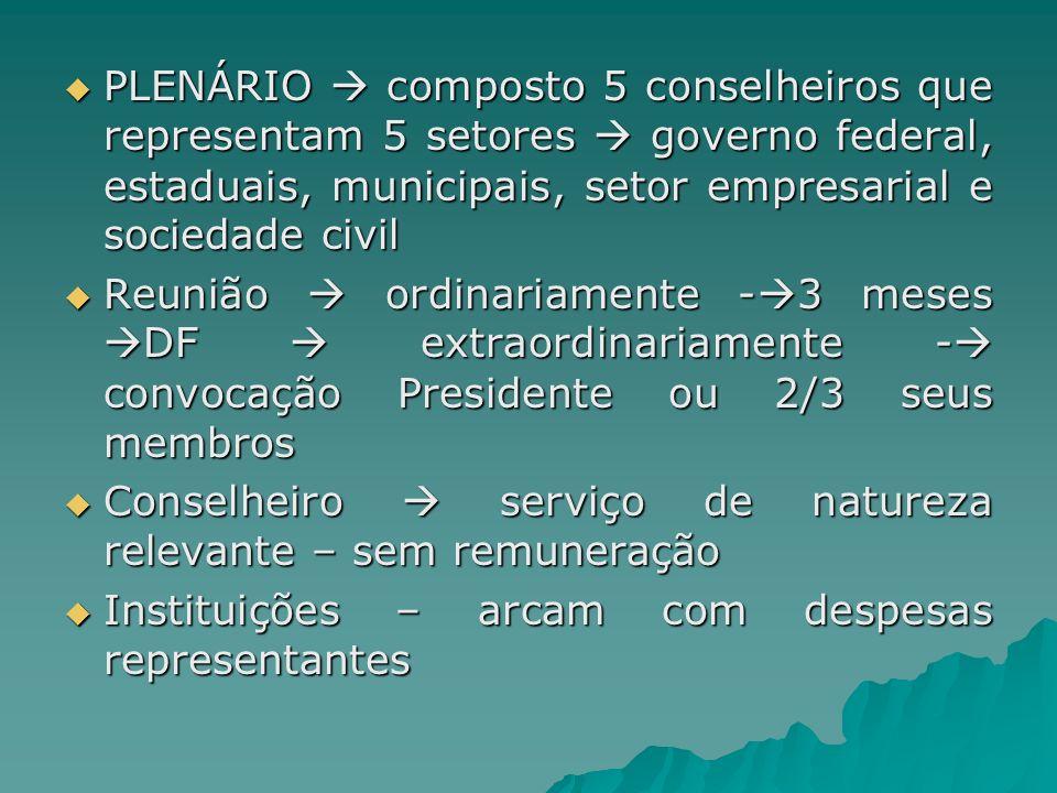 PLENÁRIO  composto 5 conselheiros que representam 5 setores  governo federal, estaduais, municipais, setor empresarial e sociedade civil