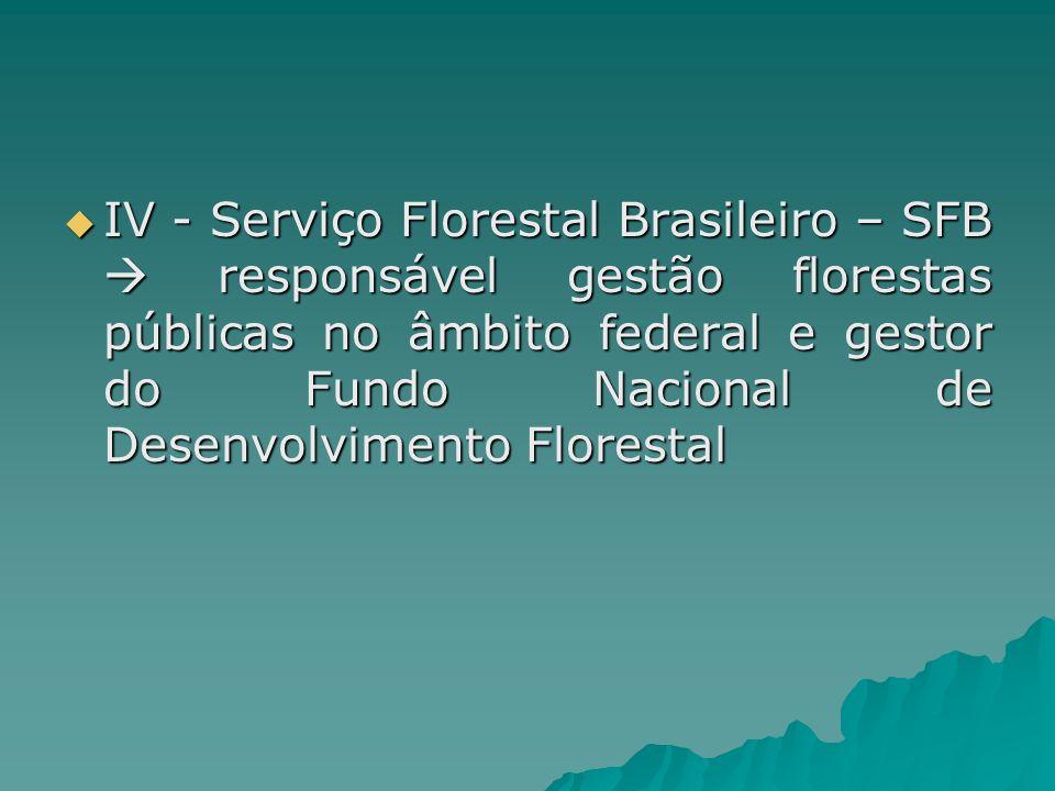 IV - Serviço Florestal Brasileiro – SFB  responsável gestão florestas públicas no âmbito federal e gestor do Fundo Nacional de Desenvolvimento Florestal