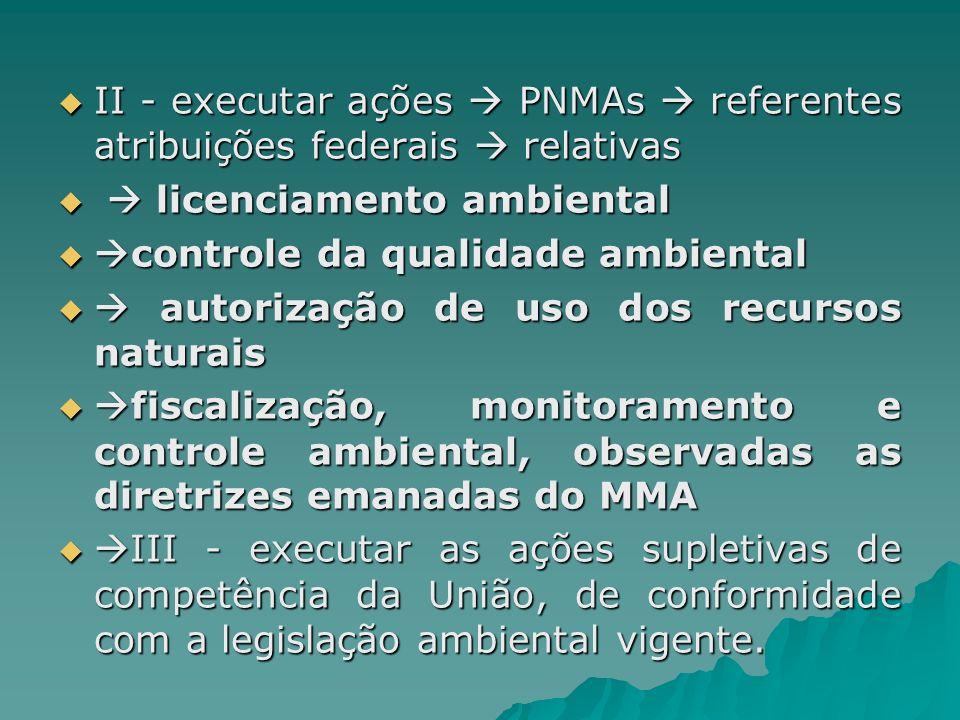 II - executar ações  PNMAs  referentes atribuições federais  relativas