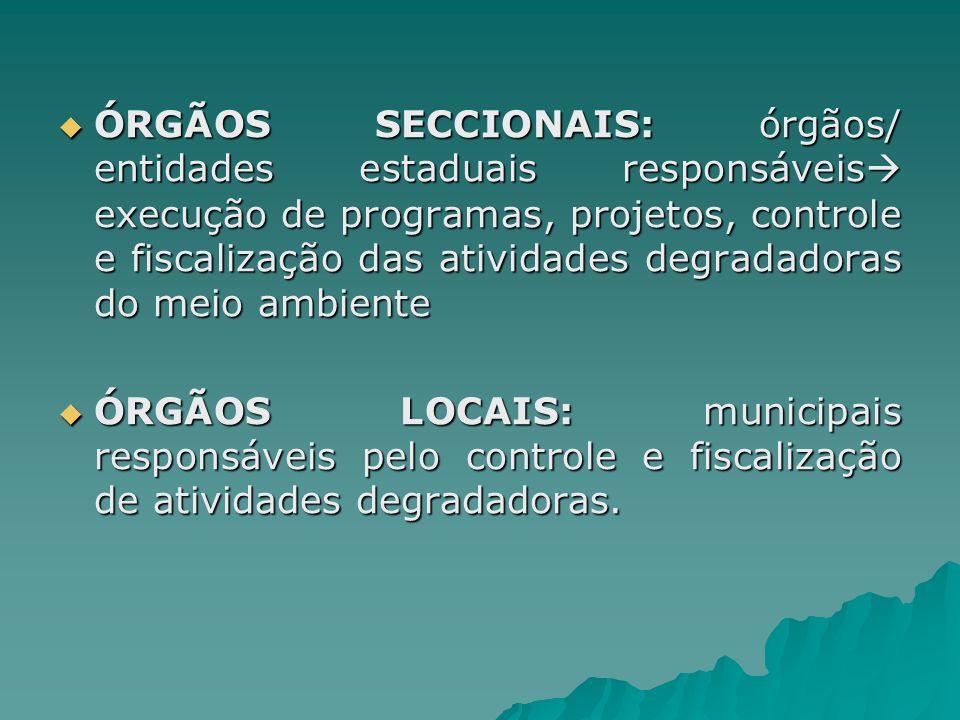 ÓRGÃOS SECCIONAIS: órgãos/ entidades estaduais responsáveis execução de programas, projetos, controle e fiscalização das atividades degradadoras do meio ambiente