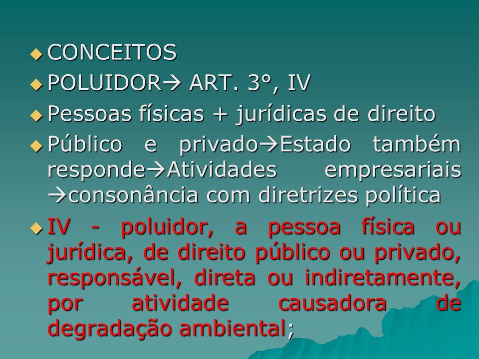 CONCEITOS POLUIDOR ART. 3°, IV. Pessoas físicas + jurídicas de direito.