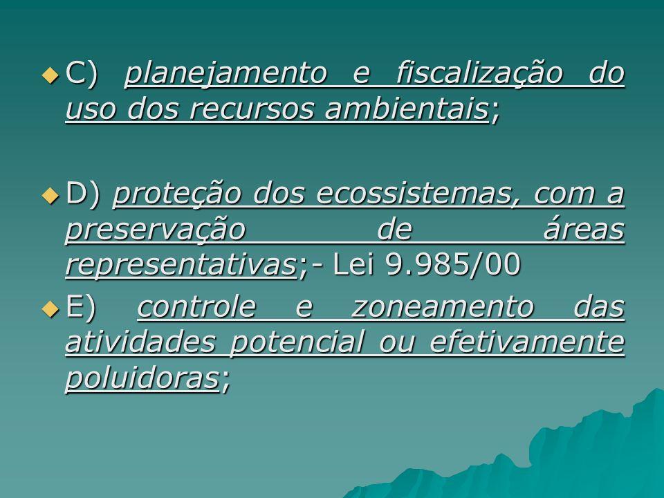 C) planejamento e fiscalização do uso dos recursos ambientais;