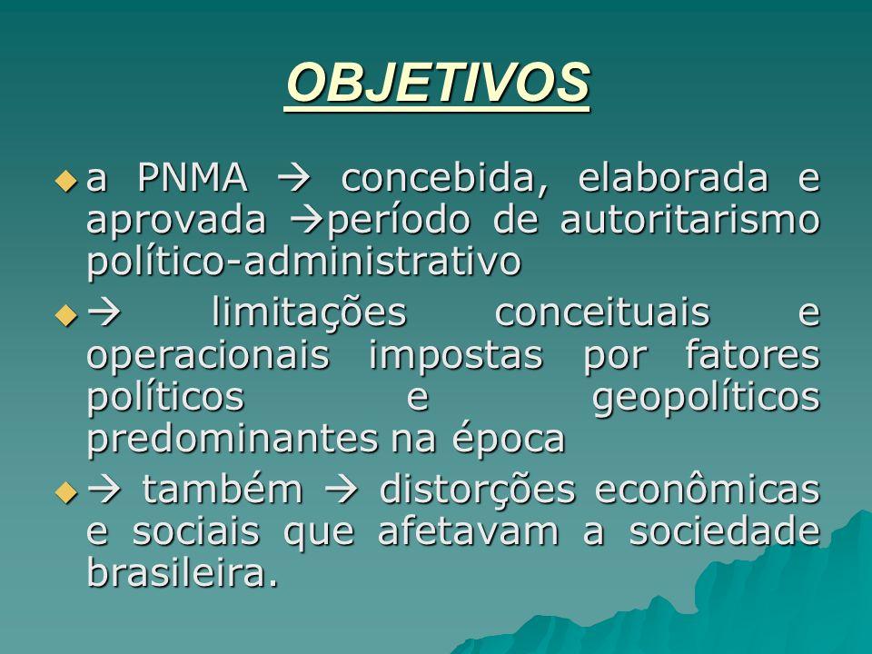 OBJETIVOS a PNMA  concebida, elaborada e aprovada período de autoritarismo político-administrativo.