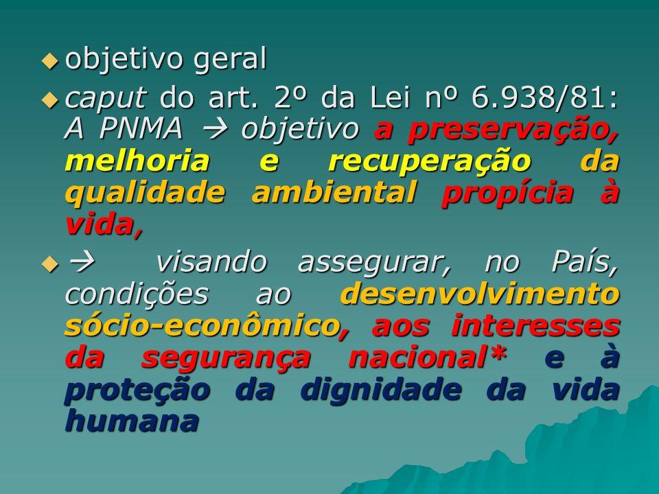 objetivo geral caput do art. 2º da Lei nº 6.938/81: A PNMA  objetivo a preservação, melhoria e recuperação da qualidade ambiental propícia à vida,