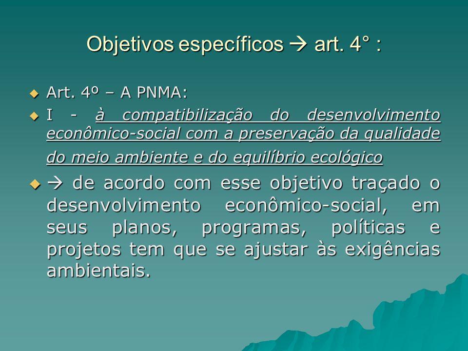 Objetivos específicos  art. 4° :