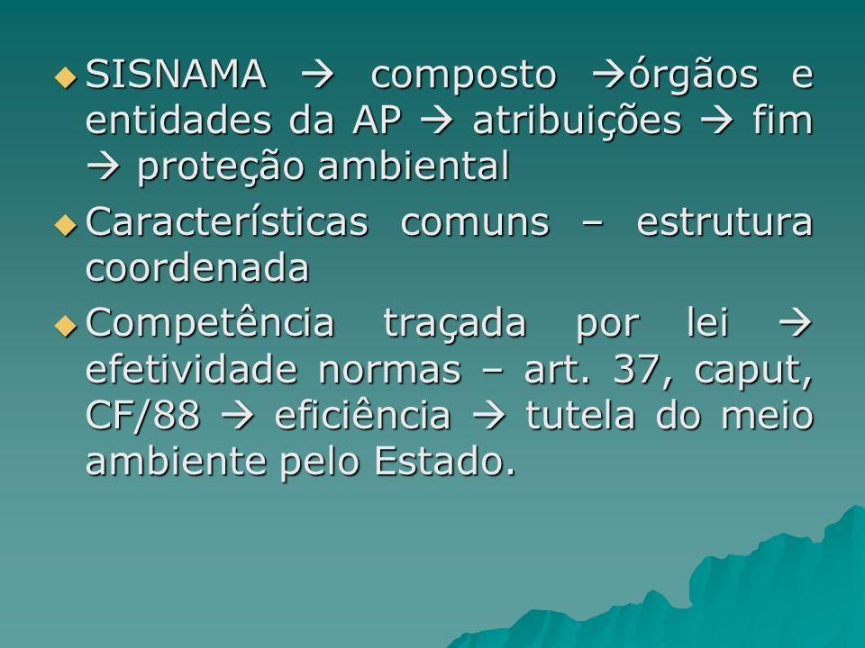 SISNAMA  composto órgãos e entidades da AP  atribuições  fim  proteção ambiental