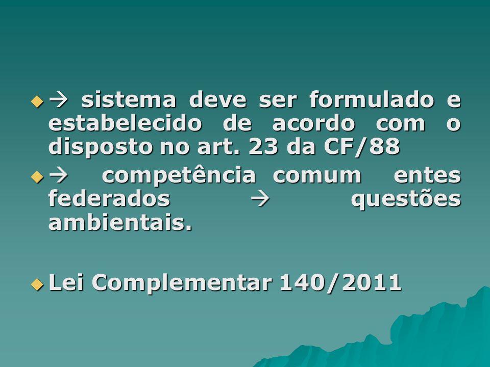  sistema deve ser formulado e estabelecido de acordo com o disposto no art. 23 da CF/88
