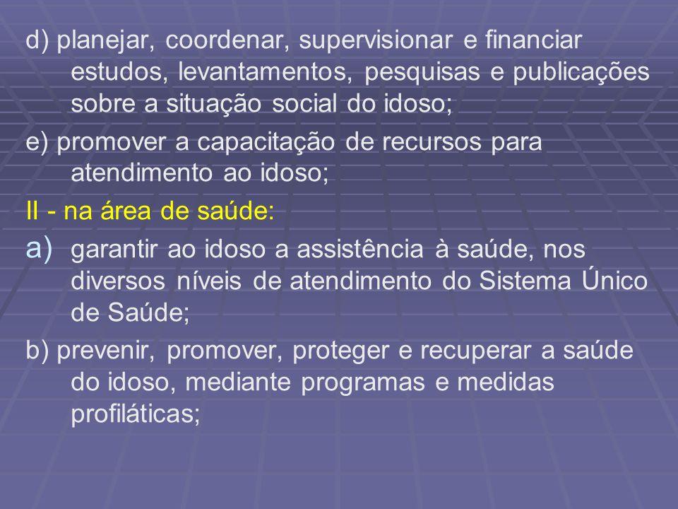 d) planejar, coordenar, supervisionar e financiar estudos, levantamentos, pesquisas e publicações sobre a situação social do idoso;