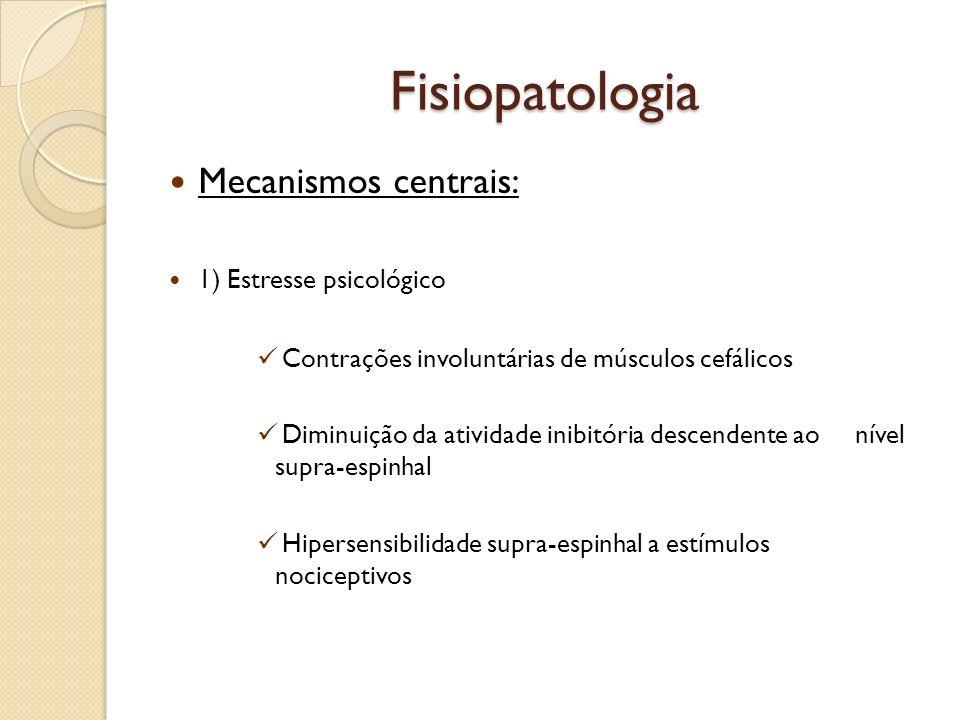 Fisiopatologia Mecanismos centrais: 1) Estresse psicológico