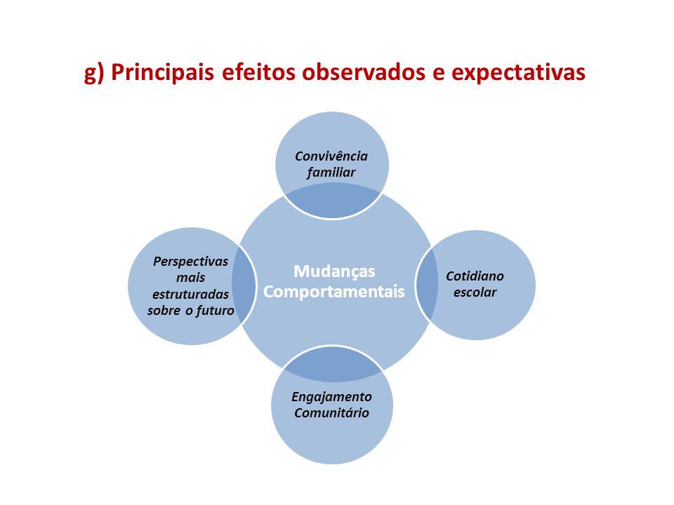 g) Principais efeitos observados e expectativas