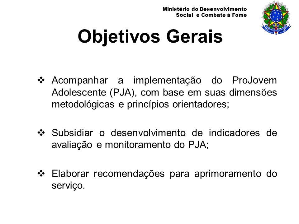 Objetivos Gerais Acompanhar a implementação do ProJovem Adolescente (PJA), com base em suas dimensões metodológicas e princípios orientadores;