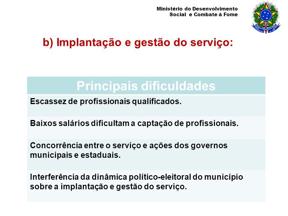b) Implantação e gestão do serviço: