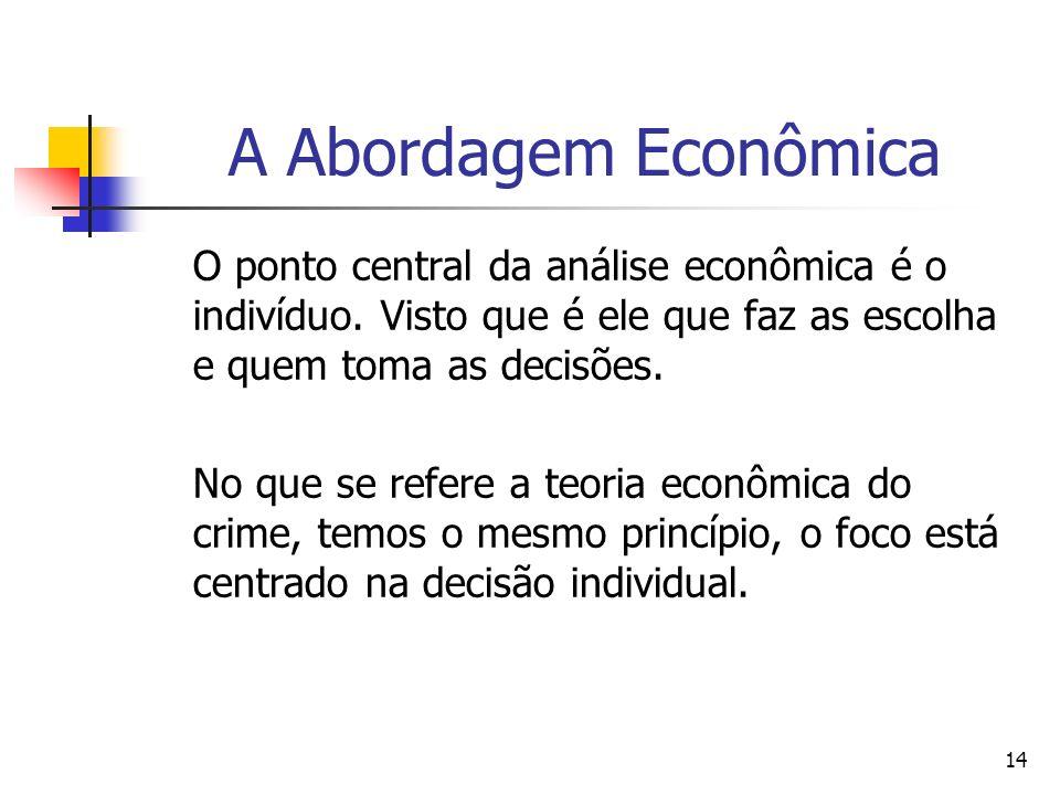 A Abordagem Econômica O ponto central da análise econômica é o indivíduo. Visto que é ele que faz as escolha e quem toma as decisões.