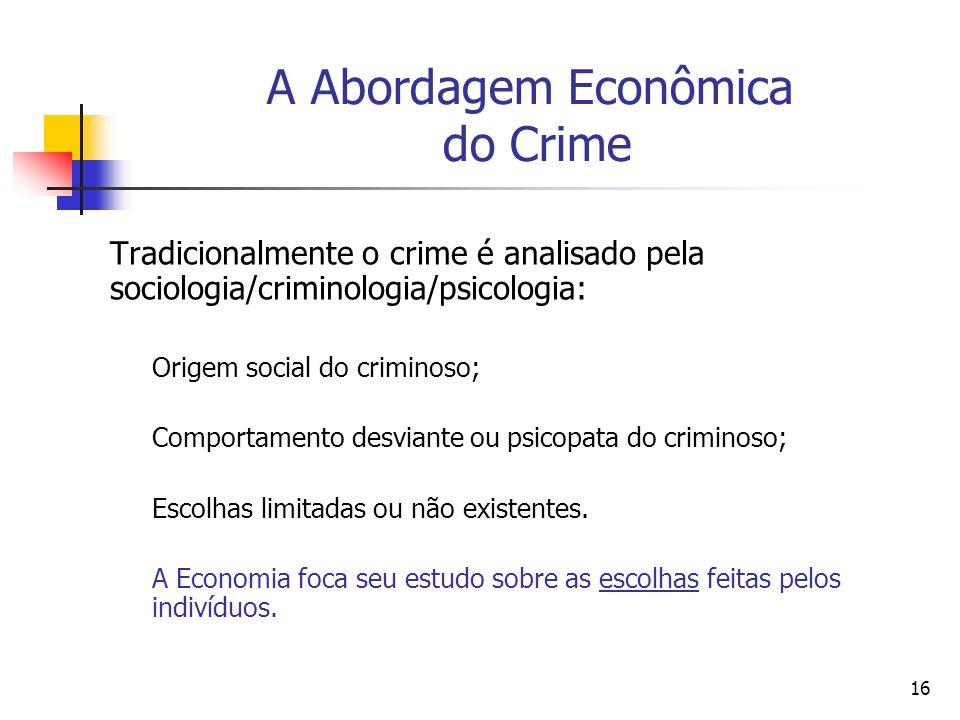 A Abordagem Econômica do Crime