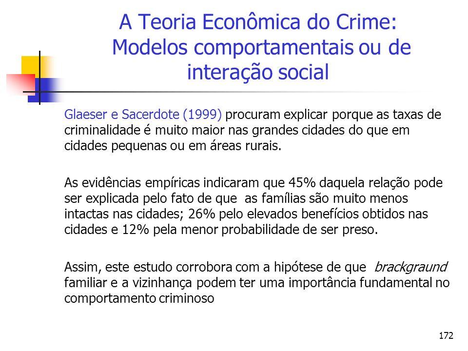 A Teoria Econômica do Crime: Modelos comportamentais ou de interação social